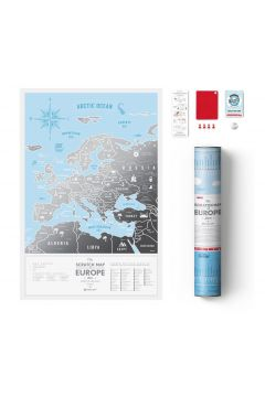 Mapa zdrapka Europa travel map silver europe