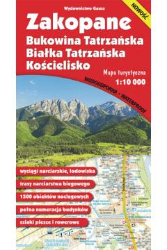 Mapa. Zakopane, Bukowina Tatrzańska, Białka Tatrzańska i Kościelisko 1:10 000 foliowana