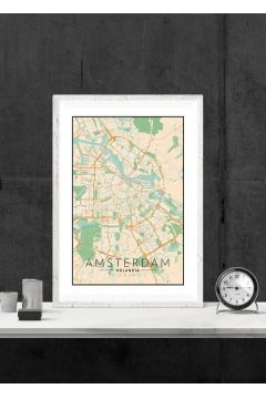 Amsterdam mapa kolorowa - plakat