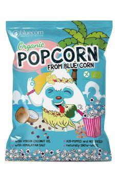 Popcorn z niebieskiej kukurydzy z olejem kokosowym i solą himalajską bezglutenowy