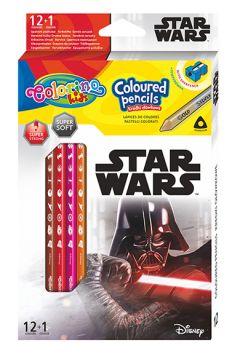 Kredki ołówkowe trójkątne Colorino Kids 13 kolorów 12 sztuk z temperówką Star Wars