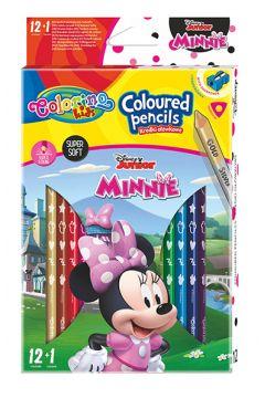 Kredki ołówkowe trójkątne Colorino Kids 13 kolorów 12 sztuk z temperówką Minnie