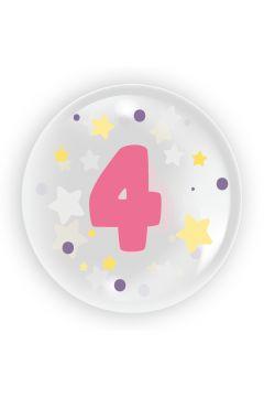 Balon 45cm dla dziewczynki cyfra 4 TUBAN