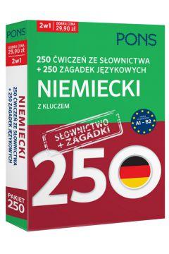 250 ćwiczeń/250 zagadek słownictwo. Niemiecki 2w1