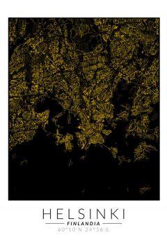 Helsinki złota mapa. Plakat