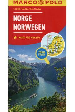 Mapa ZOOM System. Norwegia 1:800 000 plan miasta