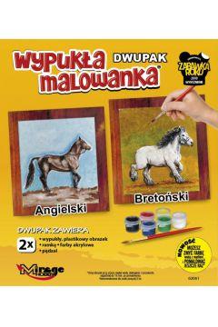 Wypukła malowanka Konie - Angielski + Bretoński