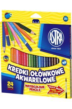 Kredki ołówkowe akwarelowe 24 kolory ASTRA
