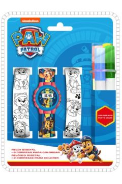 Zegarek cyfrowy z dwoma paskami do kolorowania Psi Patrol PW16686 Kids Euroswan