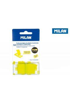Indeksy transparentne Milan FLUO żółte 45 x 25 mm 50 szt.
