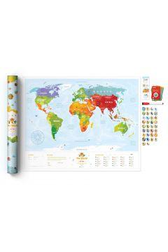 Mapa świat travel map kids animals