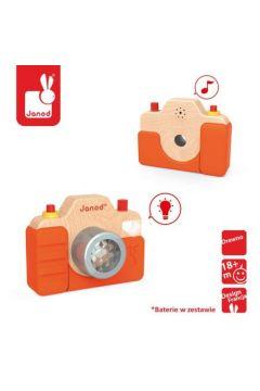 Drewniany aparat fotograficzny z dźwiękiem i lampą błyskową, JANOD
