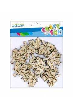 CF Ozdoba drewniana Liście samoprzylepne 4cm 10szt/op