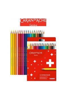 Kredki ołówkowe CARAN DACHE Swisscolor 18 kolorów kartonowe pudełko