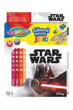 Kredki ołówkowe trójkątne Jumbo Colorino Kids + temperówka Star Wars