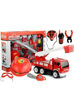 Zestaw strażaka wóz hełm gaśnica piła 14 elementów