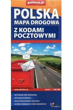 Polska mapa drogowa z kodami pocztowymi 1:650 000