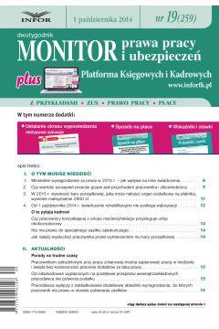 Monitor Prawa Pracy i Ubezpieczeń 19/2014