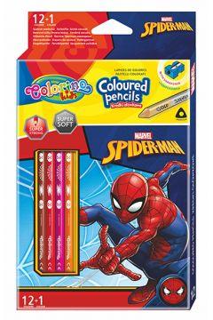 Kredki ołówkowe trójkątne Colorino Kids 13 kolorów 12 sztuk z temperówką Spiderman