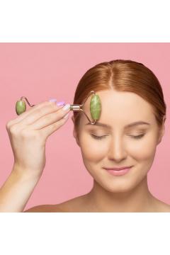 Roller do masażu twarzy Zielony Jadeit