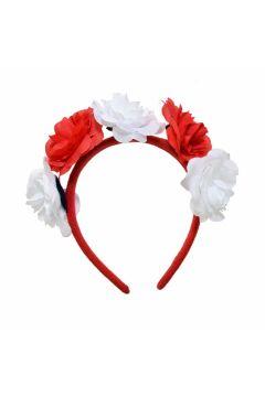 Ozdoba na głowę opaska z kwiatami biało-czerwona ARPEX SP4958