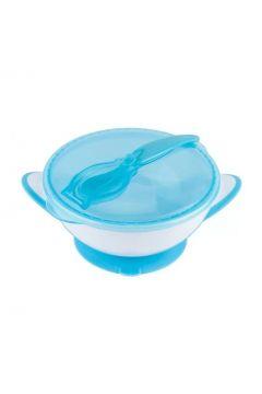 Miseczka dla dzieci i niemowląt z przyssawką i łyżeczką niebieska