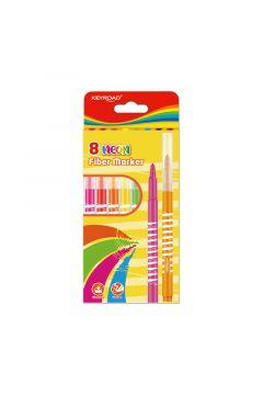 Flamastry Keyroad fiber marker neon 8 kolorów