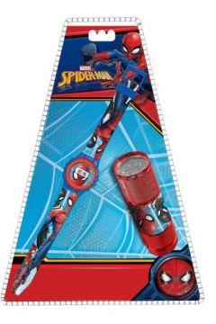 Zestaw zegarek cyfrowy z latarką LED Spiderman MV15774