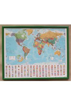 Polityczna Mapa Świata i Flagi - plakat