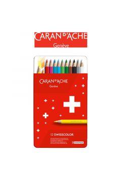 Kredki ołówkowe CARAN DACHE Swisscolor 12 kolorów metalowe pudełko