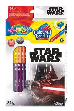 Kredki ołówkowe trójkątne Colorino Kids 24 kolorów 12 sztuk z temperówką Star Wars