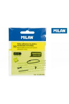 Karteczki samoprzylepne Milan FLUO przezroczyste żółte 76x76, 50 szt.