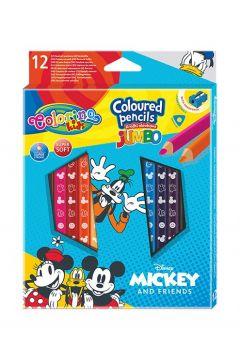 Kredki ołówkowe trójkątne jumbo Colorino Kids + temperówka Mickey