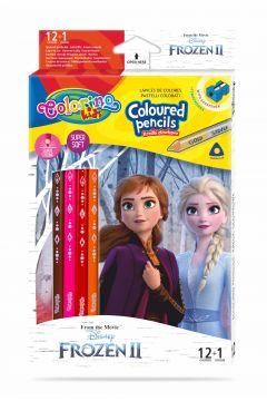 Kredki ołówkowe trójkątne Colorino Kids 13 kolorów 12 sztuk z temperówką Frozen