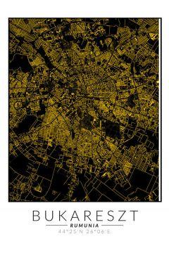 Bukareszt złota mapa. Plakat