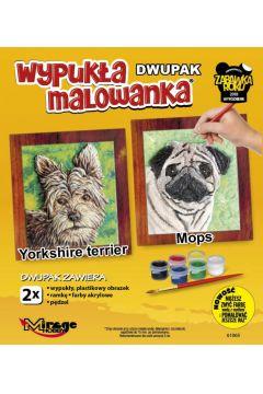 Wypukła malowanka Psy - Yorkshire terrier + Mops