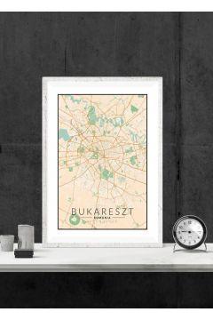 Bukareszt mapa kolorowa - plakat