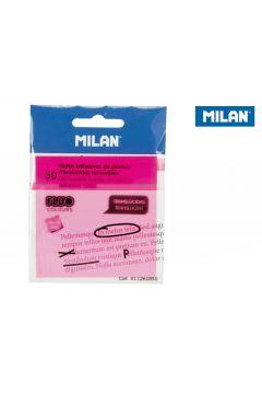 Karteczki samoprzylepne Milan FLUO przezroczyste róż 76x76, 50 szt.