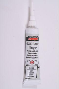 Farby konturowe w tubie 20 ml srebrny PENTART 2462