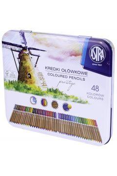 Kredki akwarelowe z drewna cedrowego Astra w metalowym pudełku Prestige 48 kolorów