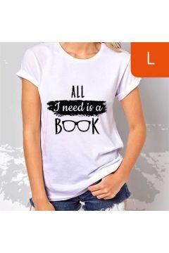 TanioKsiążkowa koszulka damska. All I need is a book. Biała. Rozmiar L
