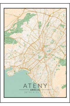 Ateny Mapa Kolorowa Plakat 20x30 Cm W Taniaksiazka Pl