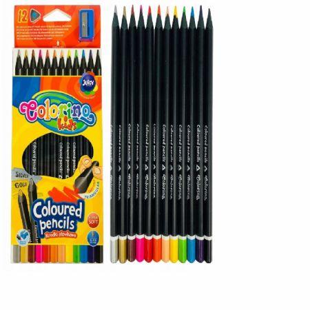 Kredki ołówkowe Colorino Kids trójkątne czarne 12 kolorów +temperówka