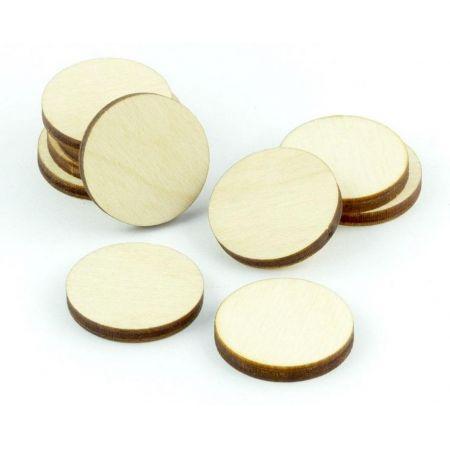 Znaczniki drewniane naturalne okrągłe 20x3mm 10szt