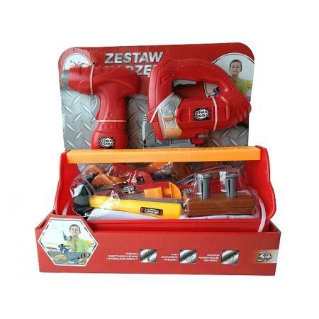 Zestaw narzędzi z wkrętarką, wyżynarką 23 elementy czerwony