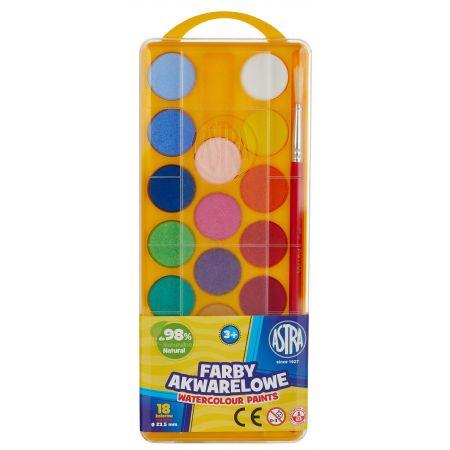 Farby Akwarelowe fi23,5mm 18 kolorów ASTRA