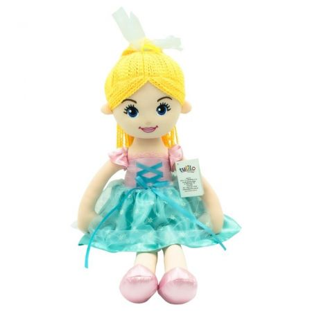 Lalka Emilka miętowa sukienka, blond włosy