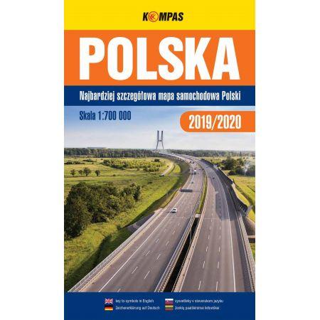 Mapa samochodowa 1:700 000 Polska  KOMPAS