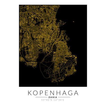 Kopenhaga złota mapa. Plakat