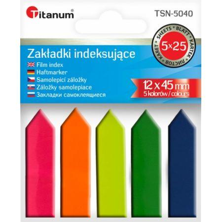Zakładki indeksujące fluo 12x45mm 5x25 kartek